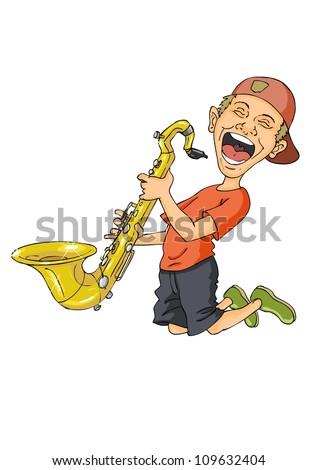 Enthusiastic guy jumps into the air with the saxophone in the hands - stock vector