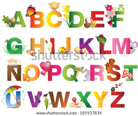 Entire alphabet represented with cute cartoon illustrations based on nature and summer - stock vector