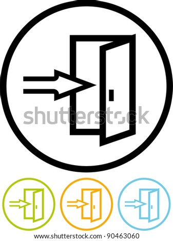 Entrance, exit - Vector icon isolated on white - stock vector