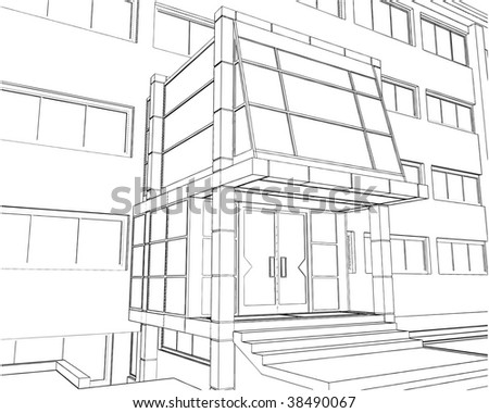 Entrance Of Business Building Vector 01 - stock vector