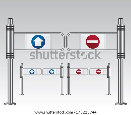 Entrance sign in a mall - stock vector
