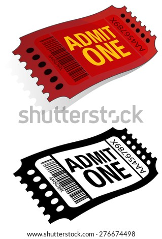 Entry Ticket Admit One - Illustration - stock vector