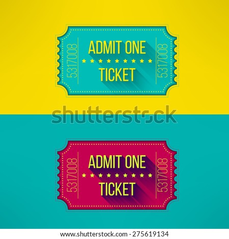 Entry ticket in modern flat design with long shadow. Admit one cinema, theater, zoo, festival, carnival, concert, circus event. Pass icon for online tickets booking. Vector illustration - stock vector