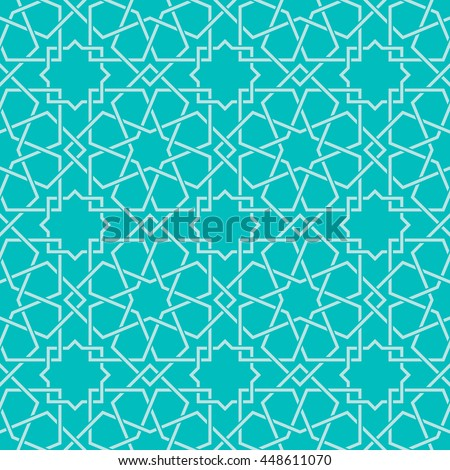Entwined modern pattern, based on traditional oriental arabic patterns. Seamless vector background. Easy to recolor. Arabesque geometric pattern. Traditional Islam pattern. - stock vector