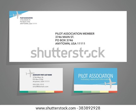 Envelope and business card layout with airplane theme