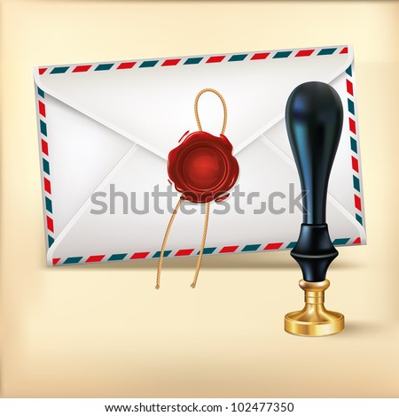 Envelope and Rad wax with Wax seal stamp. - stock vector