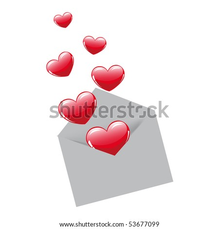Envelope and six hearts - stock vector