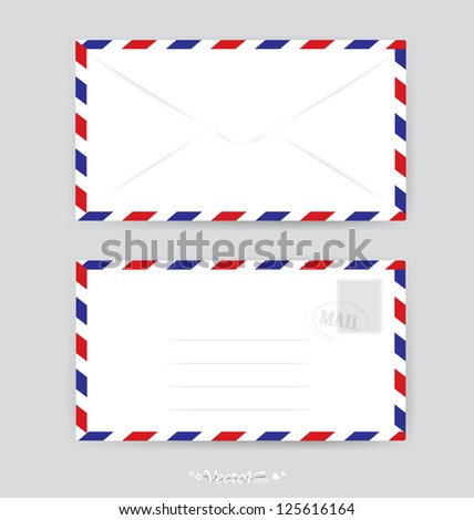 Envelope and stamp. Vector Illustration - stock vector