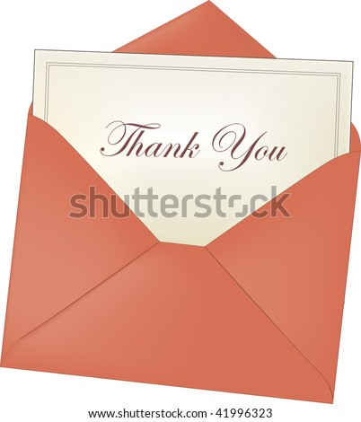 Envelope and Thank you Note - stock vector
