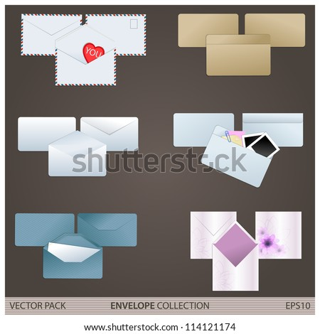 Envelope collection/Vector pack of six various envelopes - stock vector