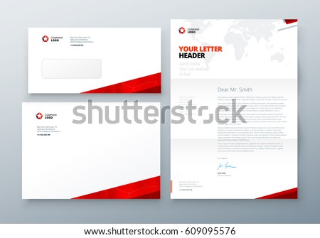 Envelope Dl C Letterhead Red Corporate Stock Vector