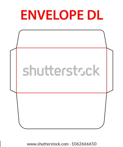 envelope dle 65 size die cut template stock vector 1062666650