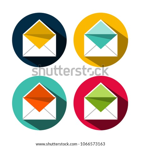 Envelope Flat Design Icons Set Email Stock Vector 1066573163