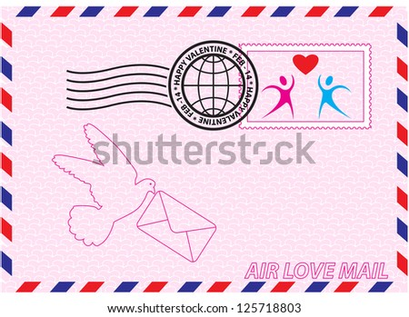 Envelope for Valentine Day with stamp, heart and bird symbols
