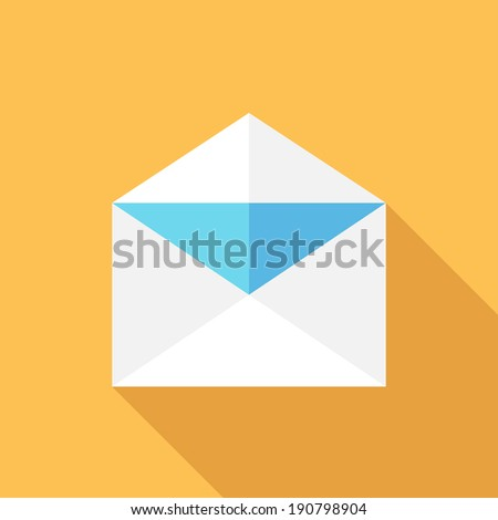 Envelope icon. Flat design style modern vector illustration. Isolated on stylish color background. Flat long shadow icon. Elements in flat design. - stock vector