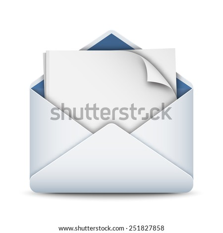 Envelope icon with a empty sheet of paper, stock vector - stock vector