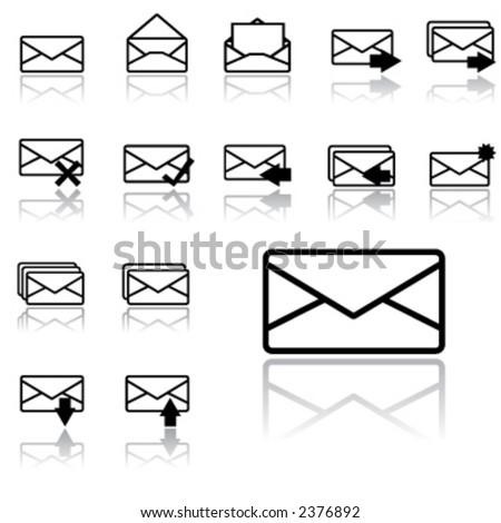 envelope icons (light version) - stock vector