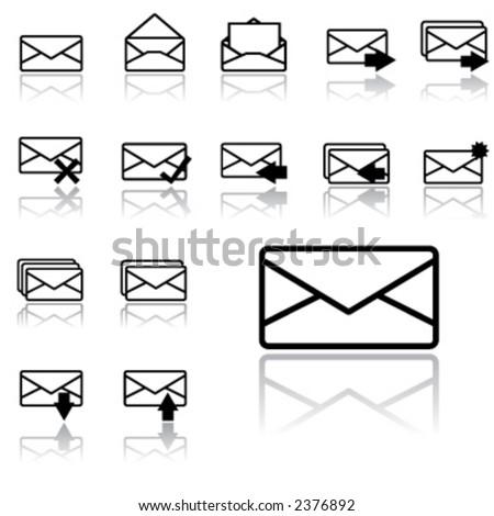 envelope icons (light version) - stock vector