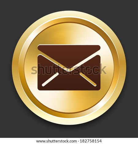 Envelope Icons on Gold Button Collection - stock vector