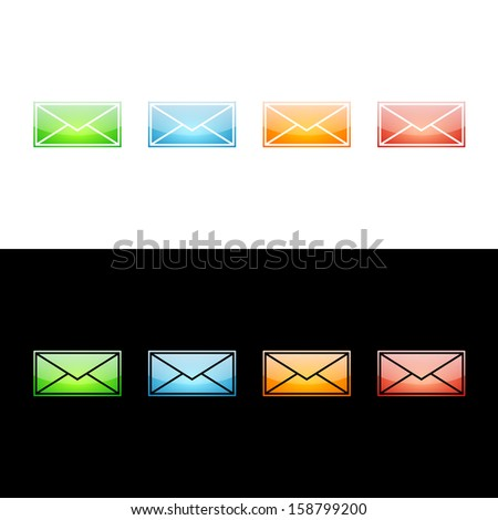 Envelope Letter Icon. Glossy Icon Collection - stock vector