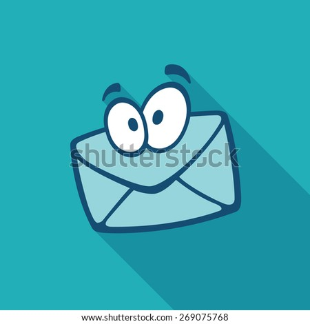 Envelope mail cartoon character with flat shadow - stock vector