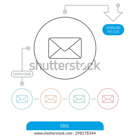 Envelope mail icon. Email message sign. Internet letter symbol. Line circle buttons. Download arrow symbol. Vector - stock vector