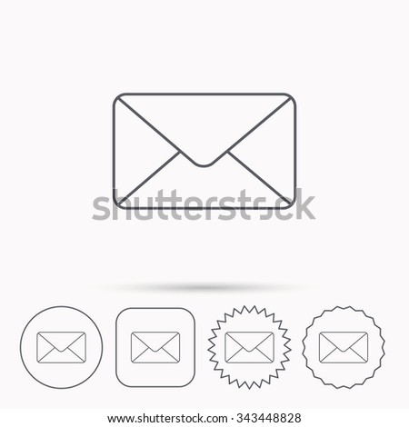 Envelope mail icon. Email message sign. Internet letter symbol. Linear circle, square and star buttons with icons.