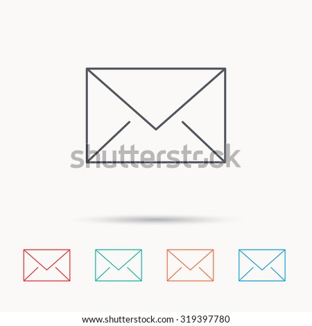 Envelope mail icon. Email message sign. Internet letter symbol. Linear icons on white background. Vector