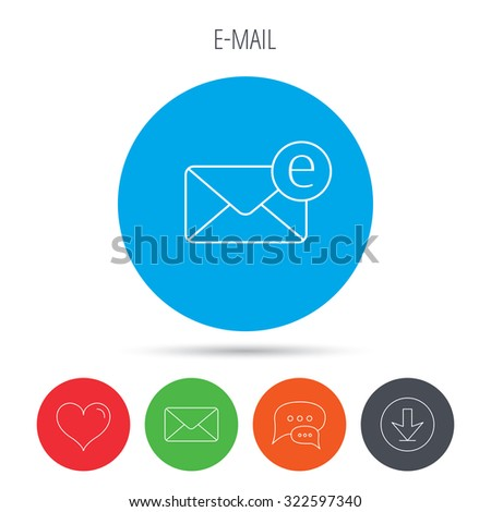 Envelope mail icon. Email message sign. Internet letter symbol. Mail, download and speech bubble buttons. Like symbol. Vector - stock vector