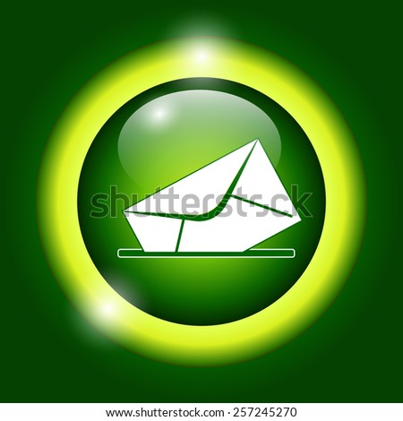 envelope mail symbol on green background. Vector - stock vector