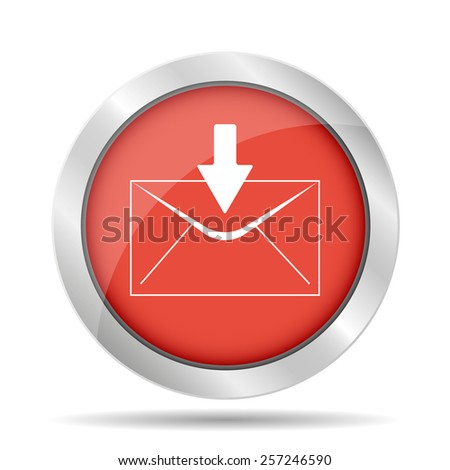 envelope mail symbol on red background. Vector - stock vector