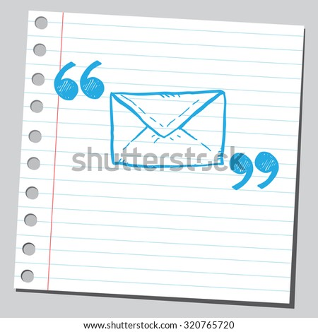 Envelope (message symbol)  in quotation marks - stock vector