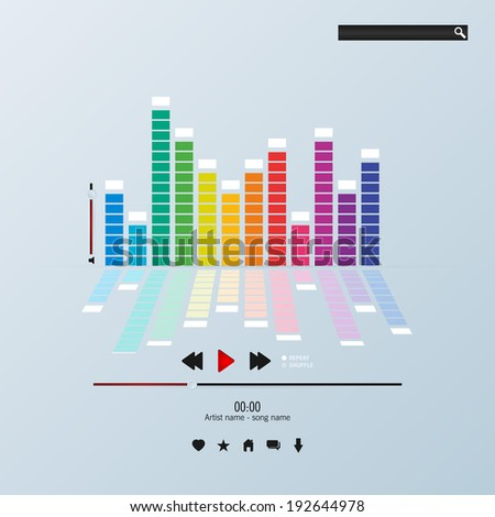 Envelope music player template - stock vector