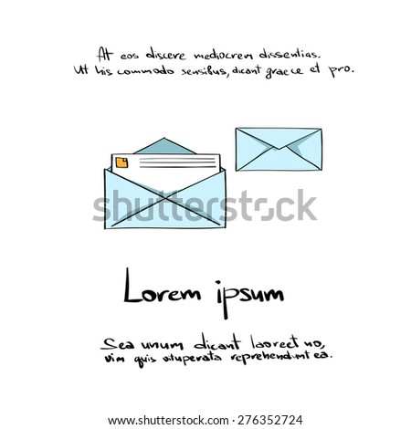 Envelope Open Mail Hand Draw Color Icon Vector Illustration - stock vector