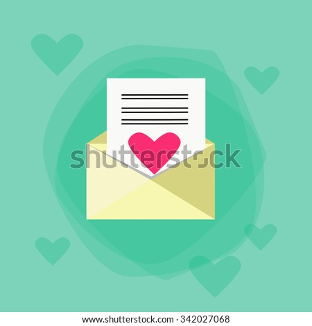 Envelope Red Heart Mail Flat Vector Illustration - stock vector