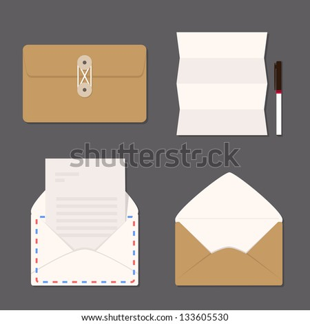 envelope set - stock vector