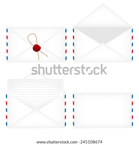 Envelope set- white opened envelope, closed envelope with stamp, white closed envelope and envelope with blank letter - stock vector