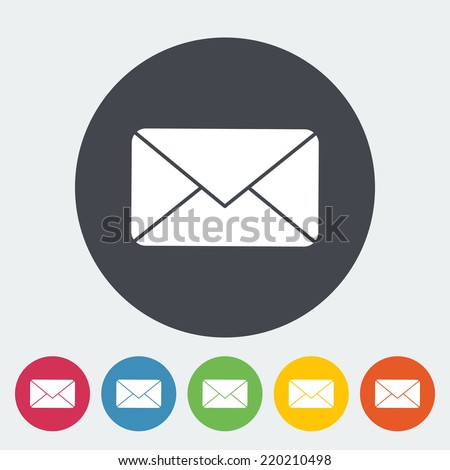 Envelope. Single flat icon on the circle. Vector illustration. - stock vector
