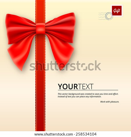Envelope tied with a red ribbon with bow. - stock vector