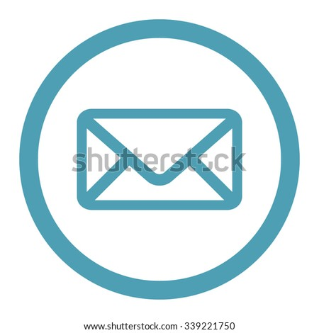 Envelope vector icon. Style is flat rounded symbol, cyan color, rounded angles, white background. - stock vector