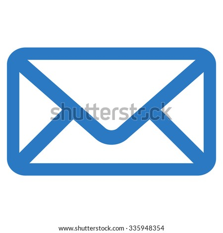 Envelope vector icon. Style is flat symbol, smooth blue color, rounded angles, white background.