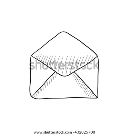 Envelope vector sketch icon isolated on background. Hand drawn Envelope icon. Envelope sketch icon for infographic, website or app. - stock vector