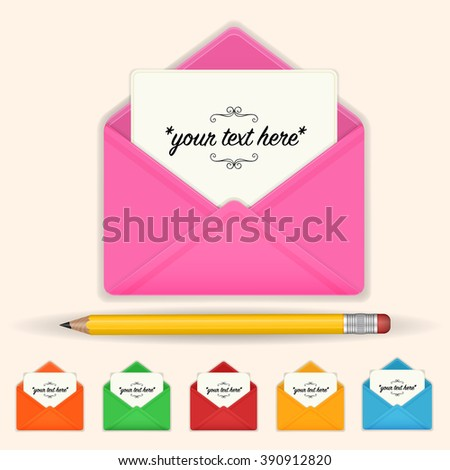 Envelope with a letter and a pencil. Icons for web, applications and desktop. Color design. Vector illustration.  - stock vector