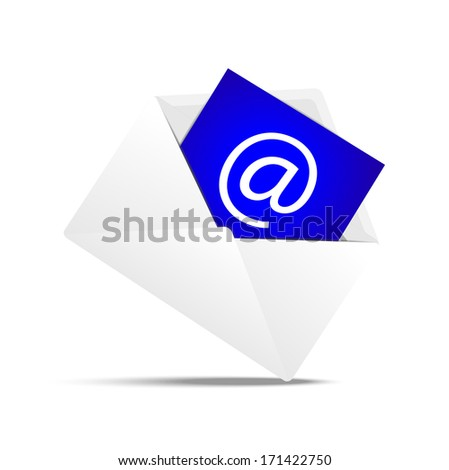 Envelope with a paper sheet, concept of e-mail