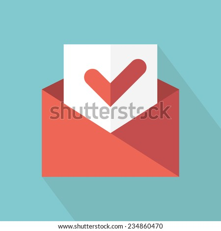 Envelope with accept sign. Check message icon. Vector illustration. Flat style with long shadow  - stock vector