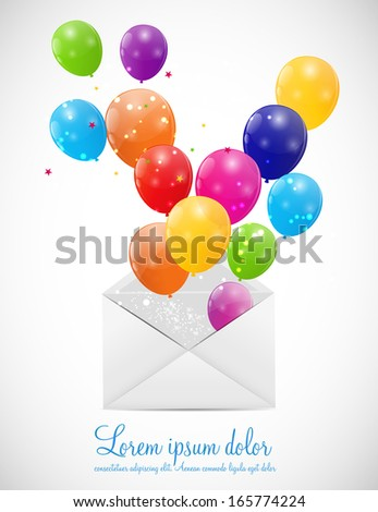 Envelope with Balloons Vector Illustration
