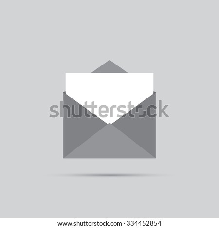 Envelope with blank sheet on a light background. - stock vector