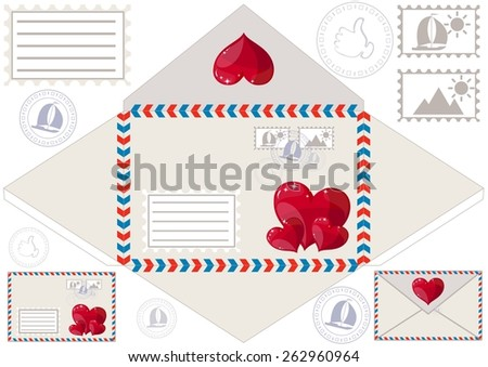 Envelope with detailed decoration in the form of the heart, dies and stamps, with space for writing address and the recipient, vector illustration - stock vector