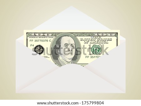 Envelope with dollar  - stock vector