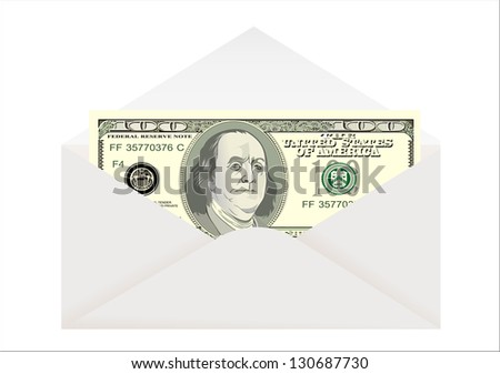 Envelope with dollar isolated on white - stock vector